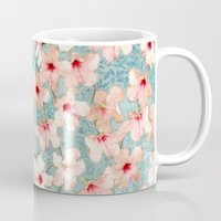peach Mugs featuring Shabby Chic Hibiscus Patchwork Pattern in Peach & Mint by micklyn