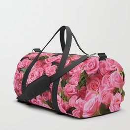 Pink Rose Floral Pattern Duffle Bag
