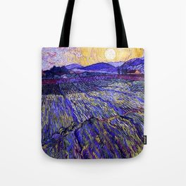 Lavender Fields with Rising Sun by Vincent van Gogh Tote Bag