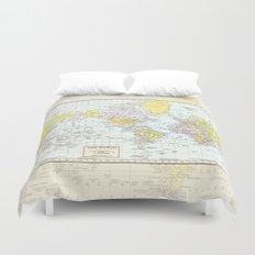 Vintage World Map Duvet Cover