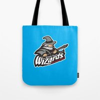 middle earth Tote Bags featuring Middle Earth Wizards by Buby87