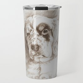 English Setter puppy Monochrome sgraffito Travel Mug