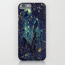 Pillars of Creation GalaxY  Teal Blue & Gold iPhone Case