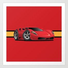 Red Hot Sports Car Cartoon Art Print