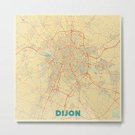 Dijon Map Retro Metal Print