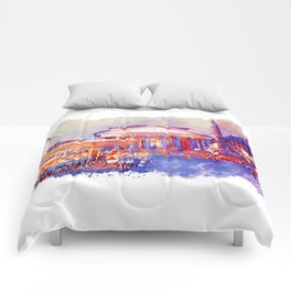 The Pantheon Rome Watercolor Streetscape Comforters