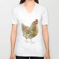 chicken V-neck T-shirts featuring Chicken by Natasha Hutton