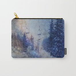 Chairlift into the Universe // Milky Way Galaxy Snowboarding Snow Nebula Stars Mixed Media Popart Carry-All Pouch