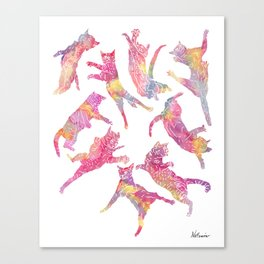 Watercolor Flying Cats - Pink Palatte Canvas Print