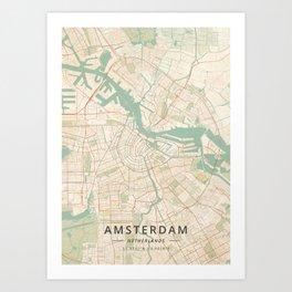 Amsterdam, Netherlands - Vintage Map Art Print