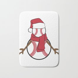 """""""Baseball Flossing Snowman"""" cute and adorable tee design. Perfect gift this holiday for friends too! Bath Mat"""