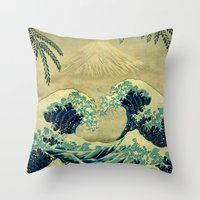 asian Throw Pillows featuring The Great Blue Embrace at Yama by Kijiermono