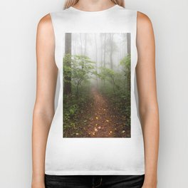 Adventure Ahead - Foggy Forest Digital Nature Photography Biker Tank