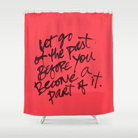 let it go Shower Curtains featuring let go by Birbal Studios