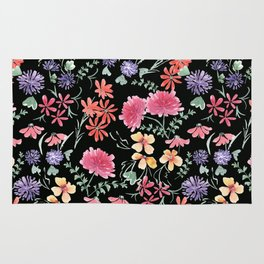 Bright flowers on a black background. Rug