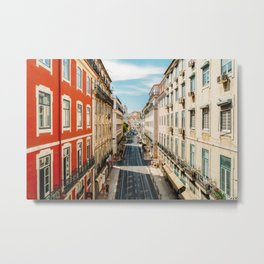 Beautiful Streets Downtown Lisbon City, Wall Art Print, Modern Architecture Art, Poster Decor Metal Print