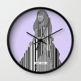Whistler in Barcode Harmony in Grey and Green, Lavender Wall Clock