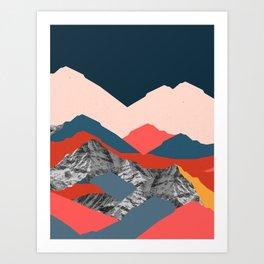Graphic Mountains X Art Print