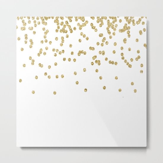 Sparkling golden glitter confetti - Luxury design #Society6 Metal Print