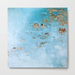 Turquoise Blue Abstract Texture Metal Print