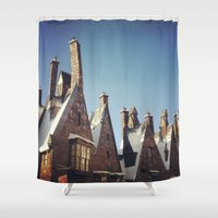 harry potter Shower Curtains featuring Harry Potter Hogsmeade by b4lt1m0re