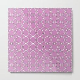 Violet Purple Quatrefoil Pattern Metal Print