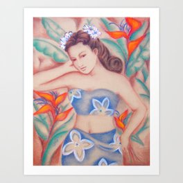 1940's Vintage Hawaiian Beauty Art Print