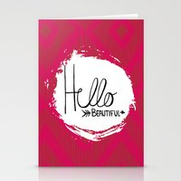 hello beautiful Stationery Cards featuring Hello Beautiful by Fat Bird Designs by Mary Baltzell