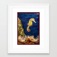 sea horse Framed Art Prints featuring Sea horse by Michelle Behar