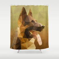 german shepherd Shower Curtains featuring The German Shepherd by Ed Burczyk