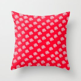 White Rose, Red Background Throw Pillow