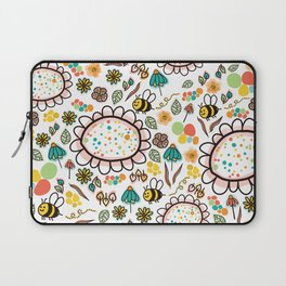 Busy Doodle Bees and Flowers Pattern Laptop Sleeve