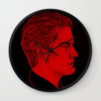 dale cooper Wall Clocks featuring Agent Dale Cooper / Twin Peaks by Kat Schneider