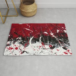 Groove In The Fire - Black and red abstract splash painting by Rasko Rug