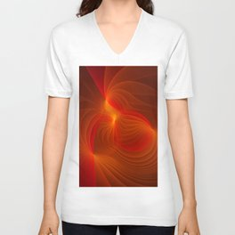 Much Warmth, Abstract Fractal Art Unisex V-Neck