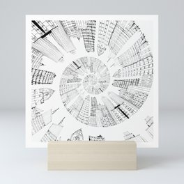 black and white city spiral digital painting Mini Art Print