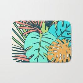 Tropical leaves cream Bath Mat