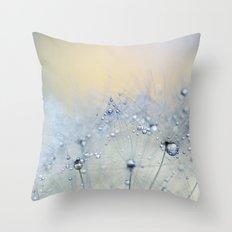 ice blue dandelion Throw Pillow