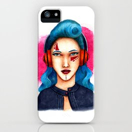 Janie - The Girl with Headphones iPhone Case