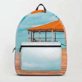 gazebo pier ocean clouds tropics vacation Backpack