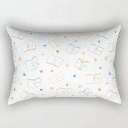 Classic Book Doodles Blue & Yellow Rectangular Pillow