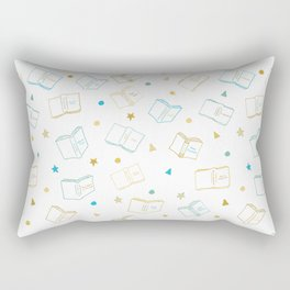 Classic Book Doodles Blue & Yellow Rectangular Pillow