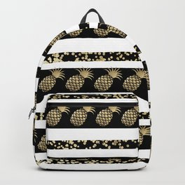 Chic black and gold confetti pineapple stripes Backpack