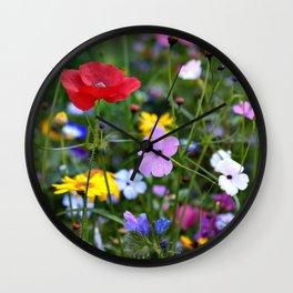 Flower field in Spring Wall Clock