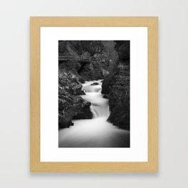 The Soteska Vintgar gorge in Black and White Framed Art Print