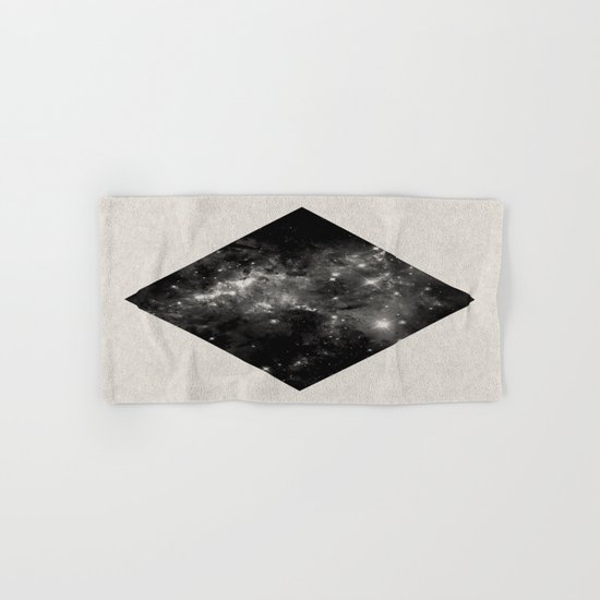 Space Diamond - Abstract, geometric space scene in black and white Hand & Bath Towel