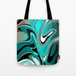 Liquify 2 - Brown, Turquoise, Teal, Black, White Tote Bag