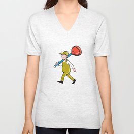 Plumber Carrying Plunger Walking Isolated Cartoon Unisex V-Neck