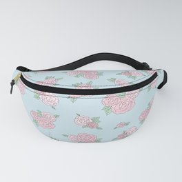 La Vie en Rose - Pink Blue Roses Pattern Fanny Pack