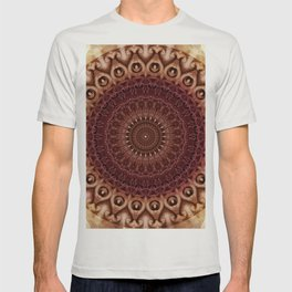 Mandala in brown and red tones T-shirt